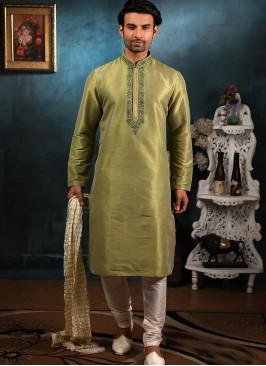Function Wear Fancy Green Color Designer Kurta Pajama