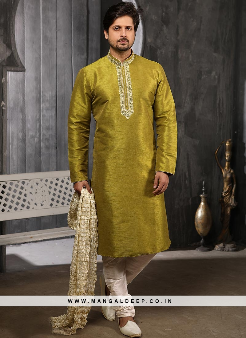 Function Wear Fancy Green Color Designer Kurta Pajama