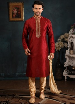 Function Wear Fancy Maroon Color Designer Kurta Pajama