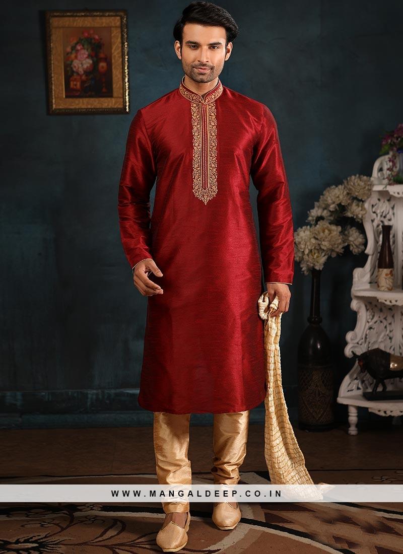 Function Wear Fancy Maroon Color Designer Kurta Pajama