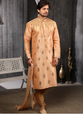 Function Wear Fancy Peach Color Designer Kurta Pajama