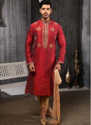 Function Wear Fancy Red Color Designer Kurta Pajama