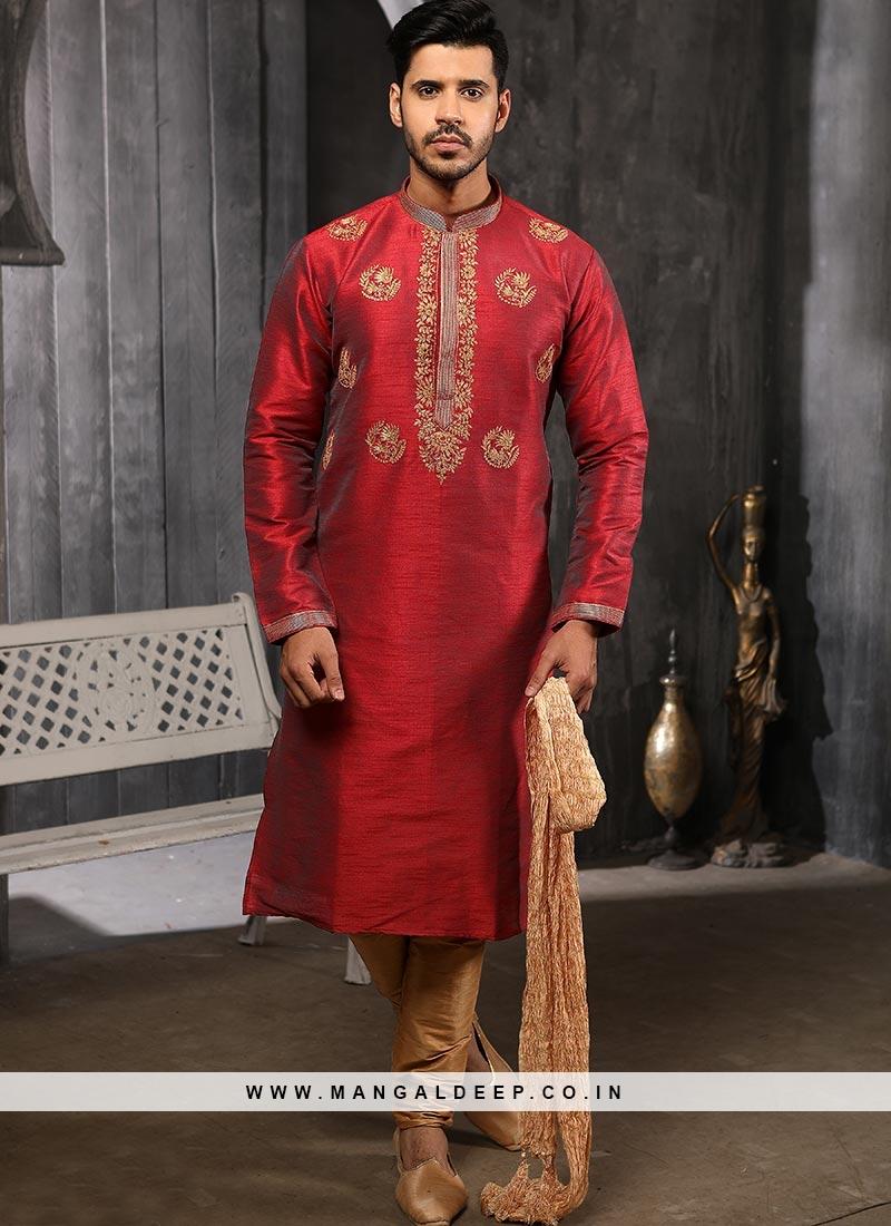 Function Wear Fancy Red Color Designer Kurta Pajama