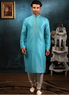 Function Wear Fancy Sky Blue Color Designer Kurta Pajama