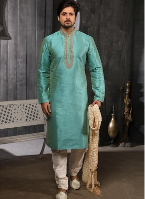 Function Wear Fancy Sky Blue Color Designer Kurta Pajama