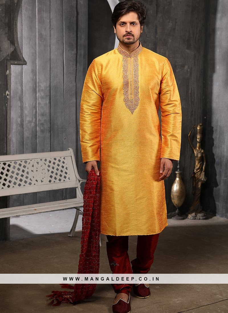 Function Wear Fancy Yellow Color Designer Kurta Pajama