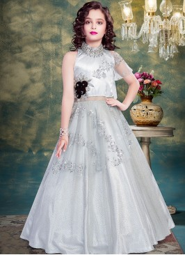 Function Wear Grey Color Fancy Net Gown
