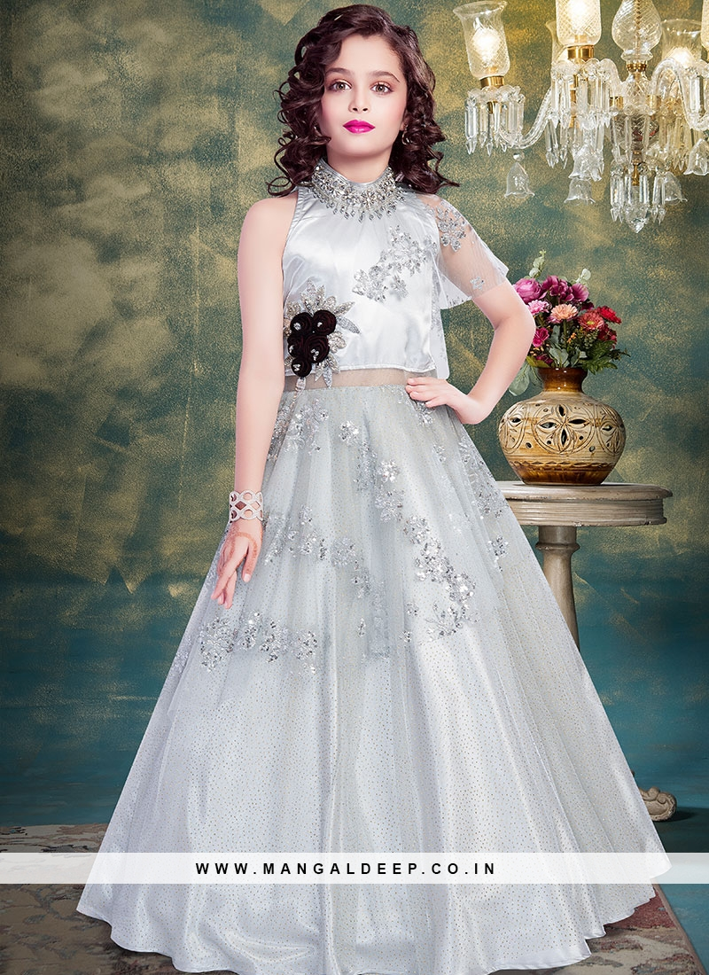 Function Wear Grey Color Fancy Net Gown
