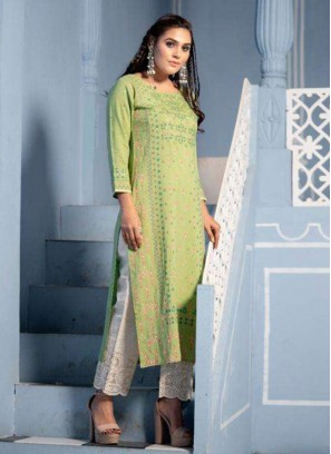 Function Wear Lovely Green Color Designer Kurti