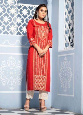 Function Wear Lovely Red Color Designer Kurti