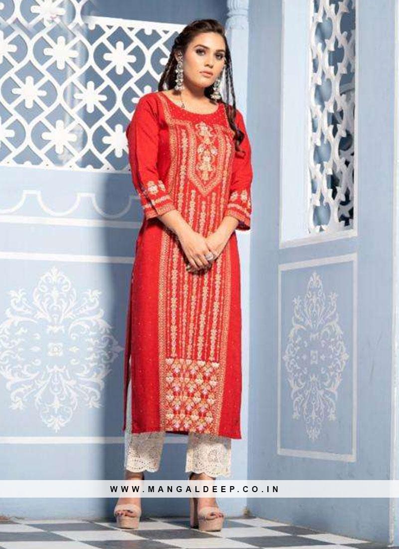 Function Wear Lovely Red Color Designer Kurti