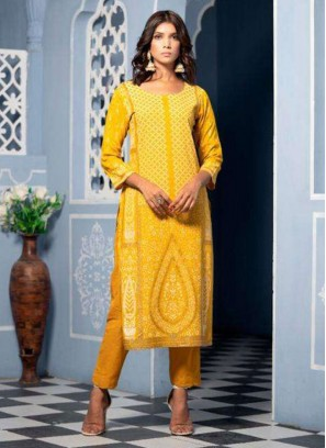 Function Wear Lovely Yellow Color Designer Kurti
