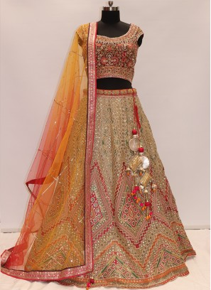 Function Wear Multi Color Net Lehenga Choli