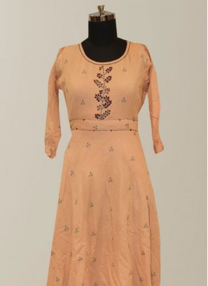 Function Wear Peach Color Lovely Designer Kurti