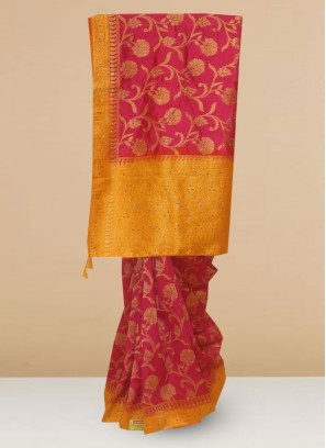 Function Wear Silk Saree In Pink Color