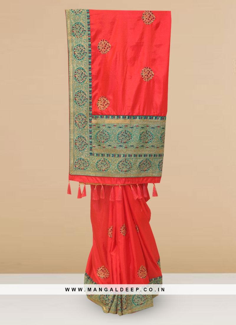 Function Wear Silk Saree In Rani Color