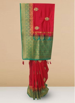 Function Wear Silk Saree In Red Color