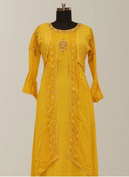 Function Wear Yellow Color Lovely Designer Kurti