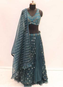 Georgette Blue Fabulous Lehenga Choli For Wedding Events