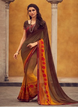Georgette Function Wear Fancy Multi Color Saree