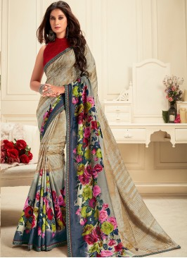 Georgette Function Wear Printed Saree In Multi Color