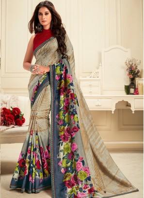 Georgette Function Wear Printed Saree In Multi Color