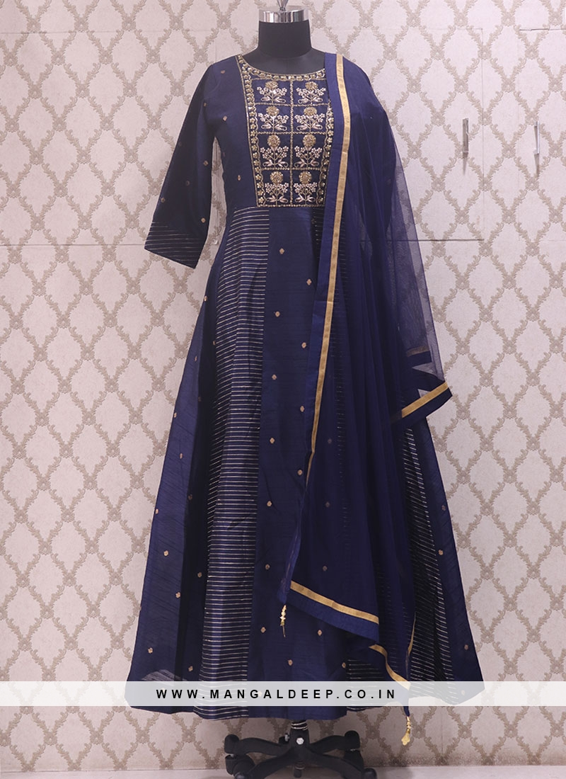 Glamorous Blue Color Party Wear Designer Salwar Kameez