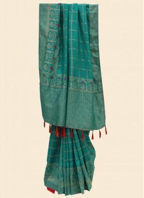 Glamorous Green Color Designer Embroidered Silk Saree