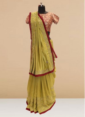 Glamorous Green Color Function Wear Saree In Silk Fabric