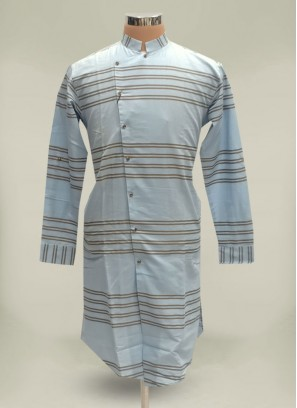 Glamorous Grey Designer Cotton Kurta