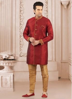 Glamorous Maroon Color Designer Semi Indo Suit