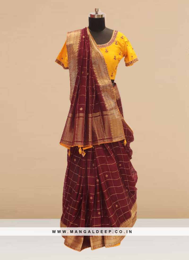 Glamorous Maroon Color Function Wear Saree In Silk Fabric
