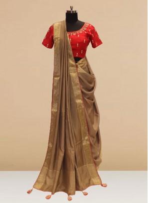 Glamorous Multi Color Function Wear Saree In Silk Fabric