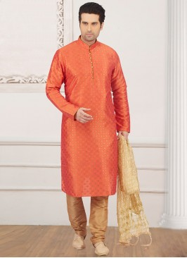 Glamorous Orange Color Designer Kurta Payjama