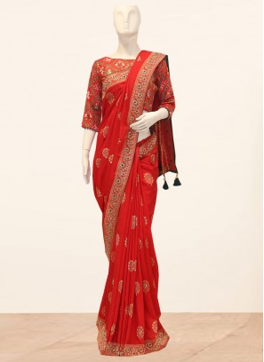 Glamorous Red Color Function Wear Saree