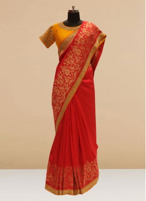 Glamorous Red Color Function Wear Saree In Silk Fabric