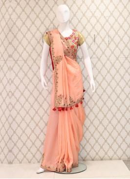 Glamour Peach Silk Fabric Heavywork Saree