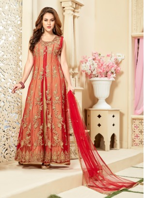 Gold And Red Hand Work Anarkali Suit