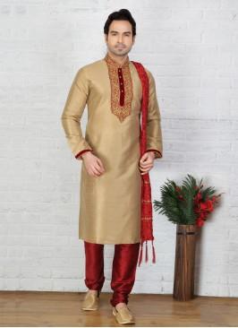 Gold  Art Dupion Silk Kurta Pajama