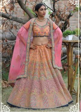 Gold Color Silk Resham Work Bridal Lehenga