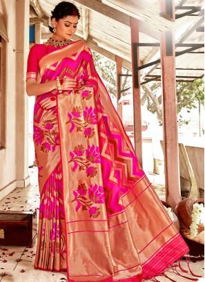 Golden And Pink Color Silk Saree