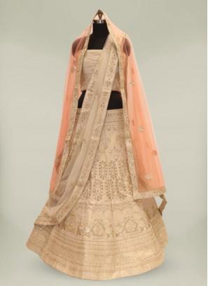 Golden Color Banarasi Silk Lehenga For Wedding