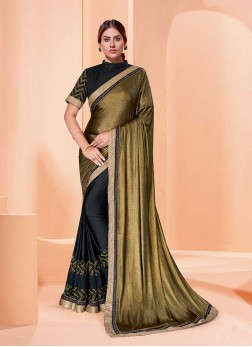 Golden Color Half And Half Saree
