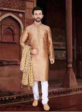 Golden Color Mens Wear Kurta Set