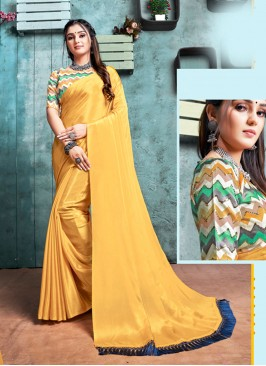 Golden Color Plain Saree With Printed Blouse