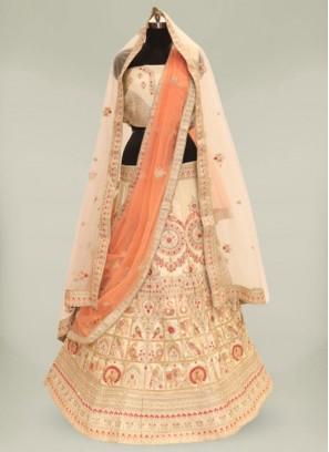 Golden Color Raw Silk Bride Lehenga