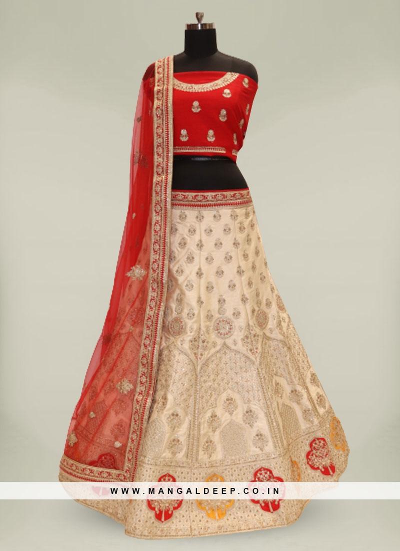 Golden Color Raw Silk Lehenga For Bridal
