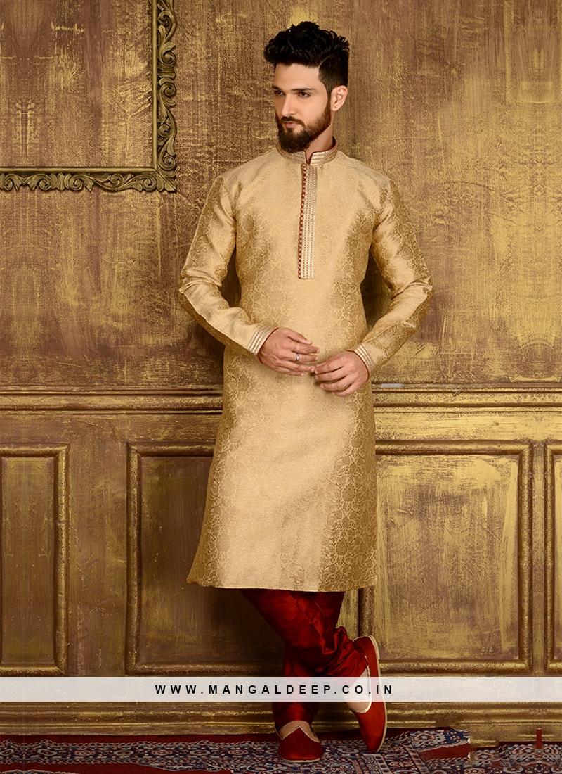 Golden Colour Party Wear Kurta Pajama
