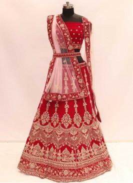 Gorgeous Maroon Color Velvet Lehenga For Dulhan