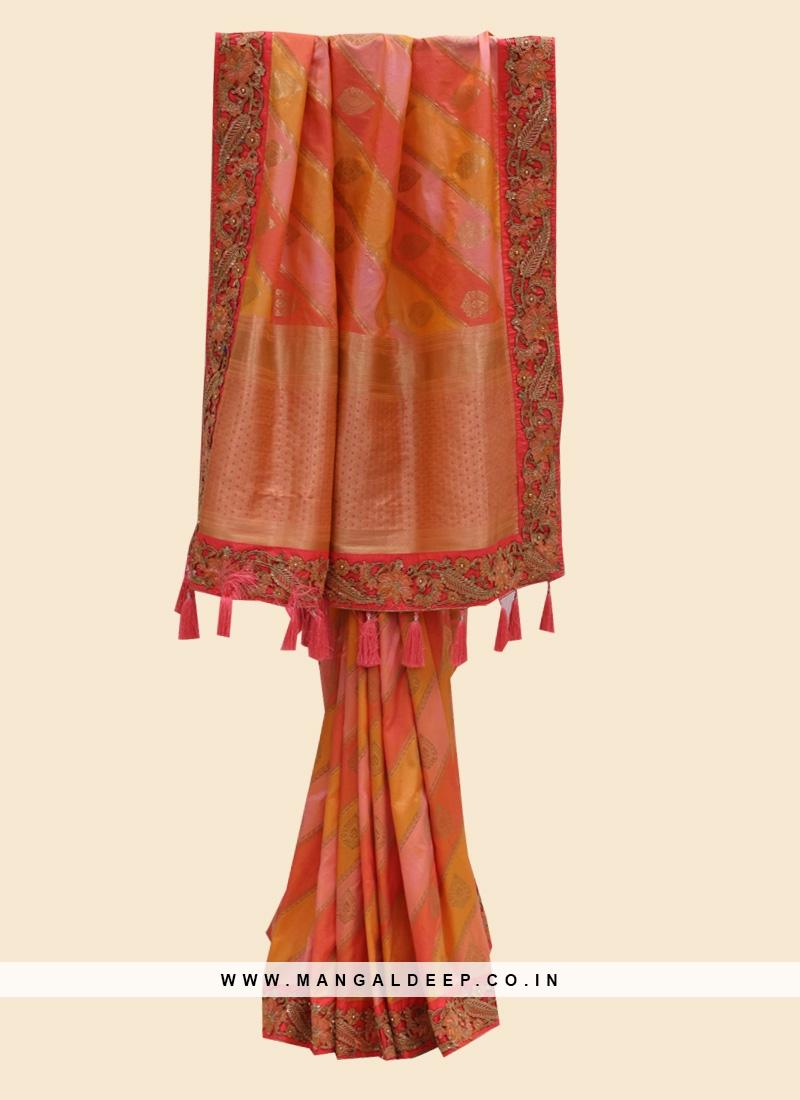 Gorgeous Multi Color Festive Wear Silk Fancy Saree